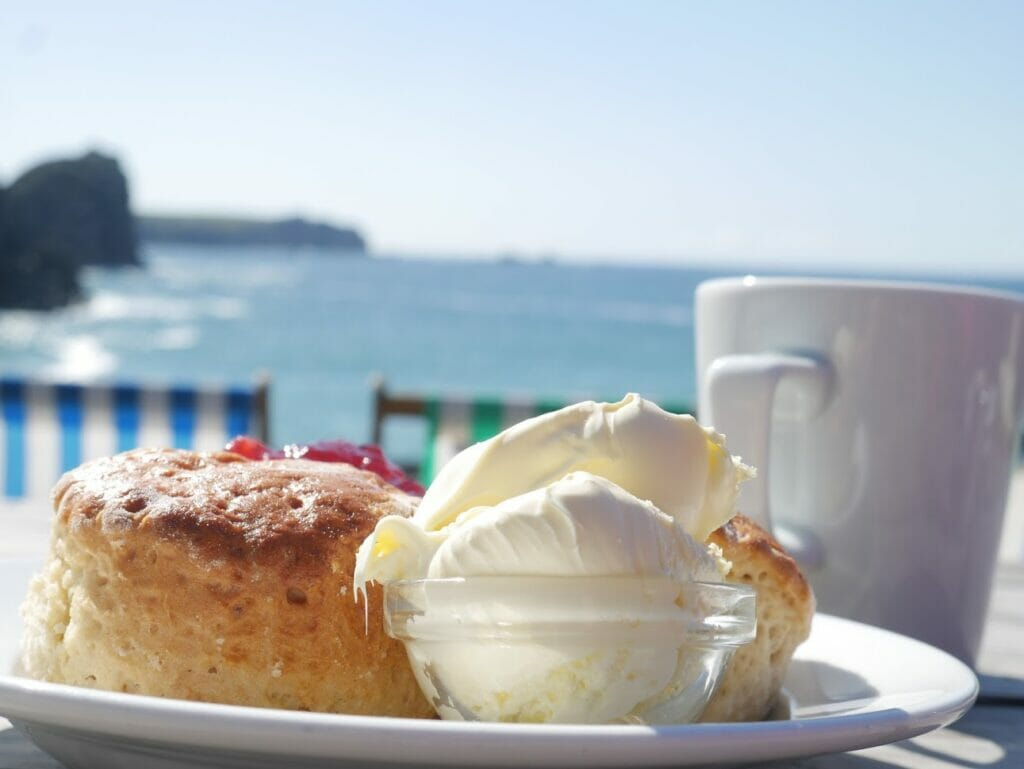 A cream tea looking over Kynance Cove