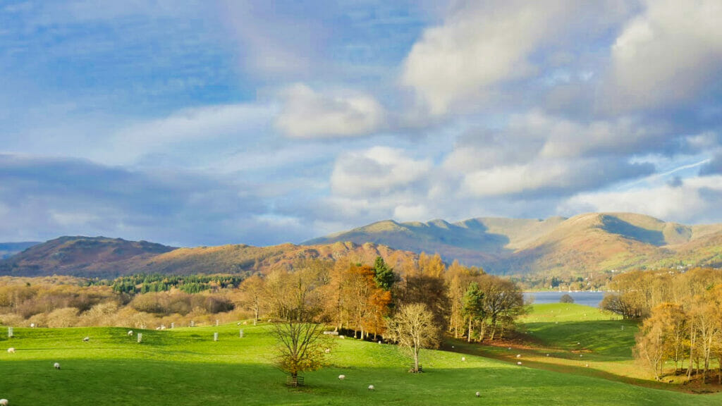 Lake District hills and green grass